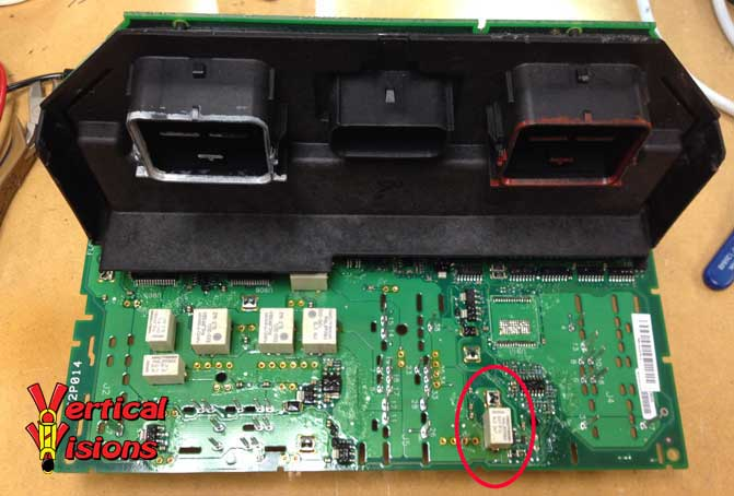 TIPM disassembled - Faulty fuel pump relay shown circled in red.